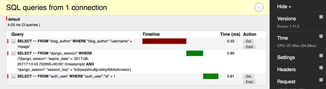 select by username with index
