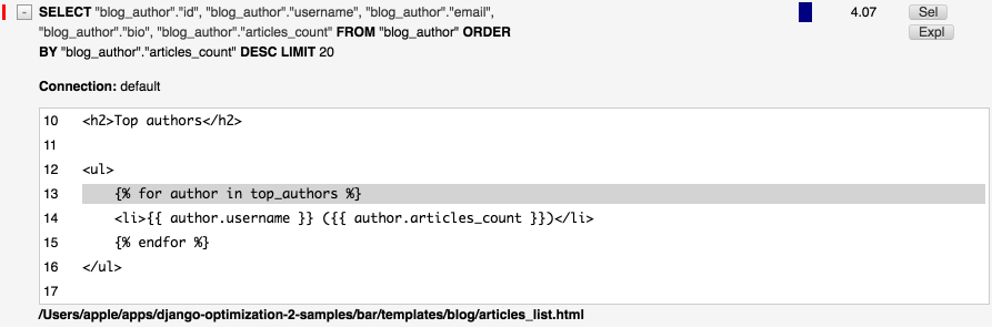 DDT - get top authors slice on queryset